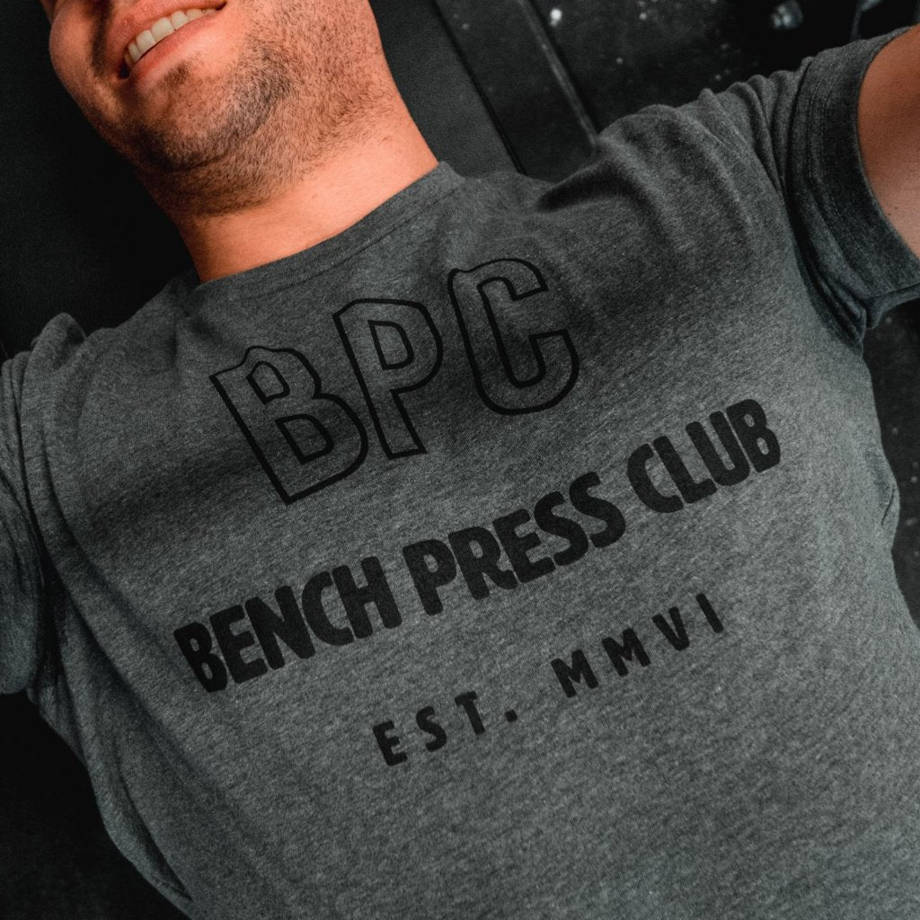Bench Press Club Dark Grey Triblend Men's T-Shirt-Dumb & Dumbbell