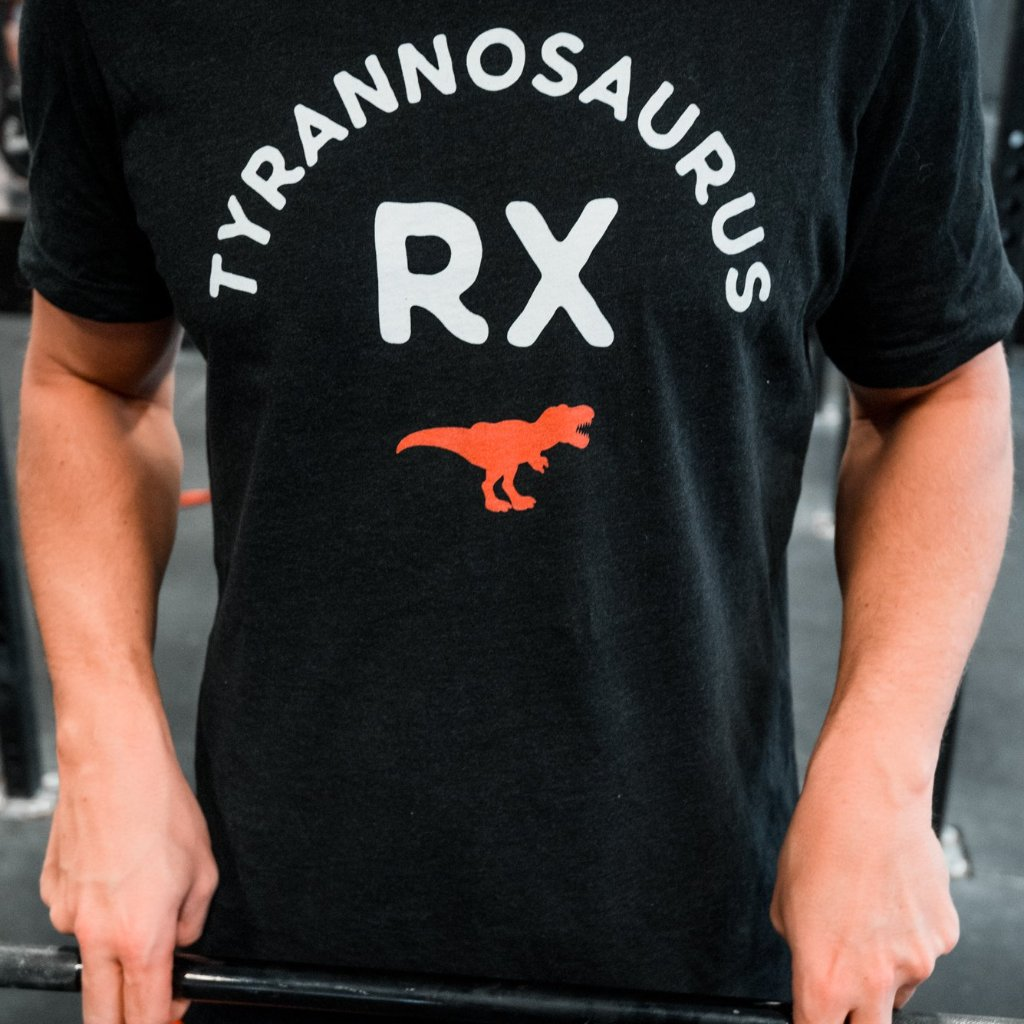 Tyrannosaurus RX Men's T-Shirt Black-Dumb & Dumbbell