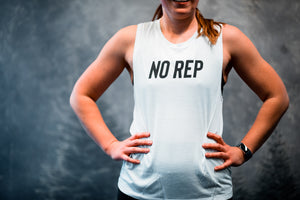 No rep Women's Muscle Tank White-Dumb & Dumbbell