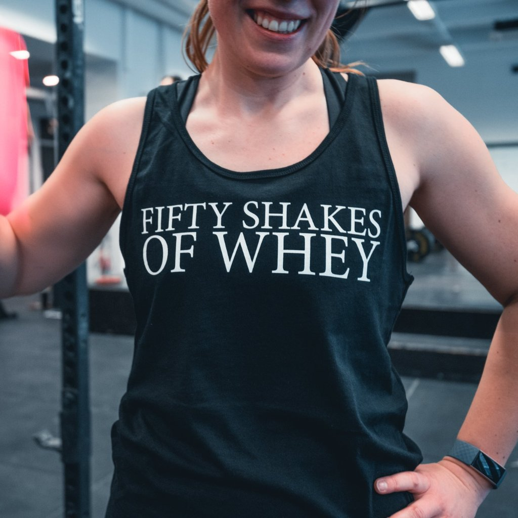 Fifty Shakes of Whey Women's Tank Top Black-Dumb & Dumbbell
