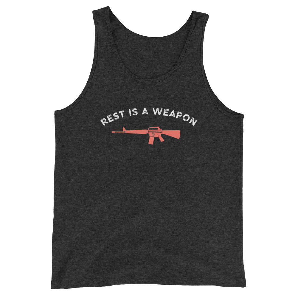 Rest is a weapon Women's Tank Top Gray-Dumb & Dumbbell