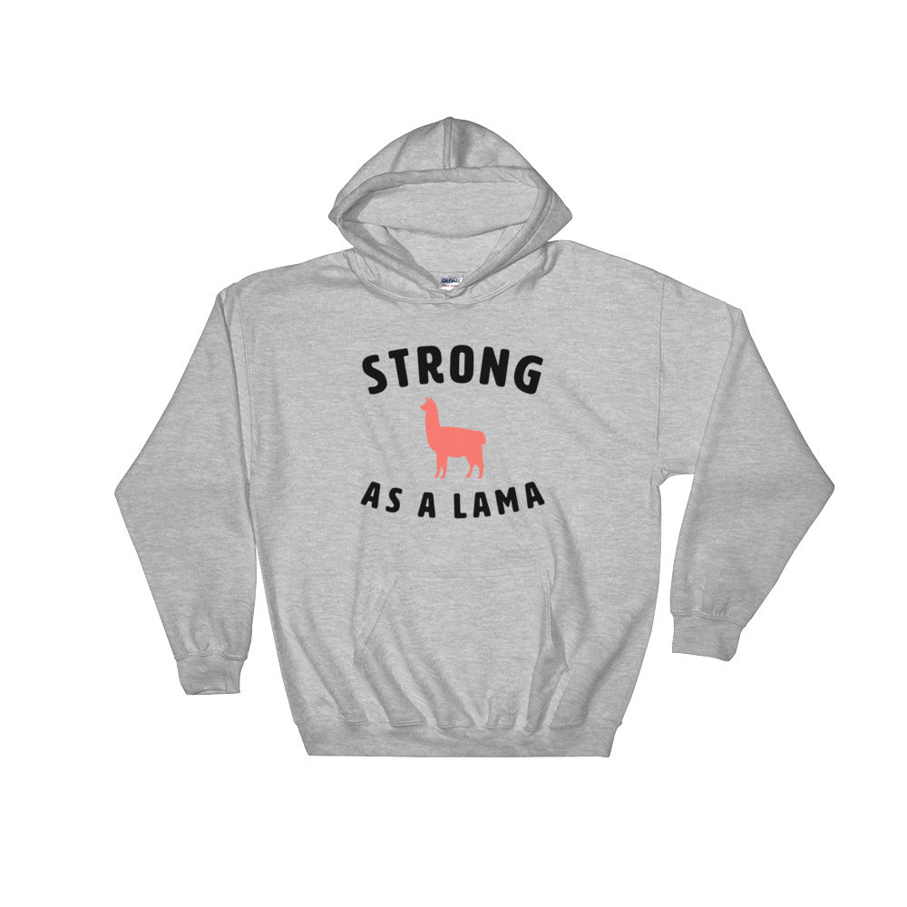 Strong as a Lama Hoodie Grey-Dumb & Dumbbell
