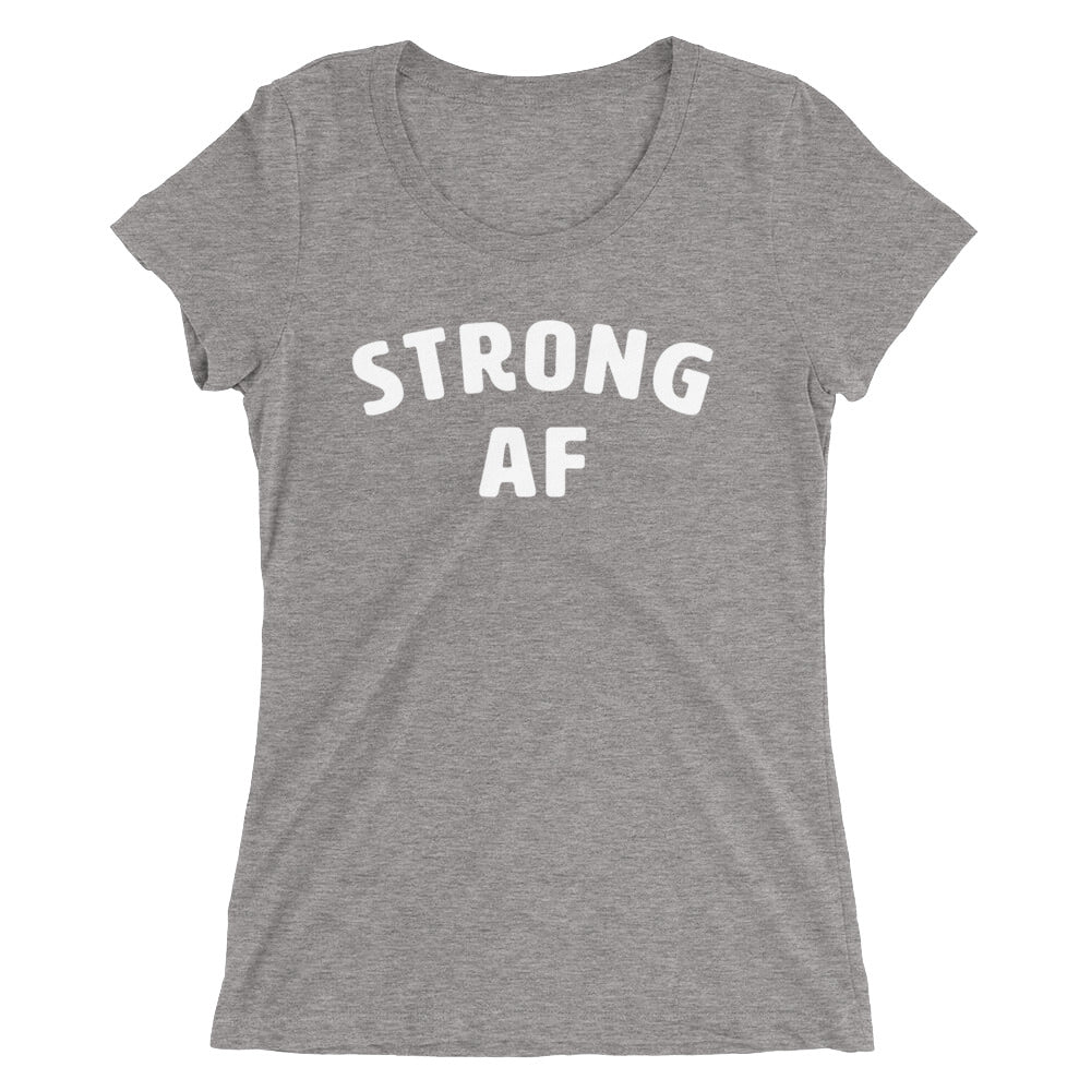 Strong af Women's T-Shirt Grey-Dumb & Dumbbell