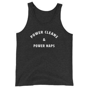 Power cleans & power naps Women's Tank Top Gray-Dumb & Dumbbell