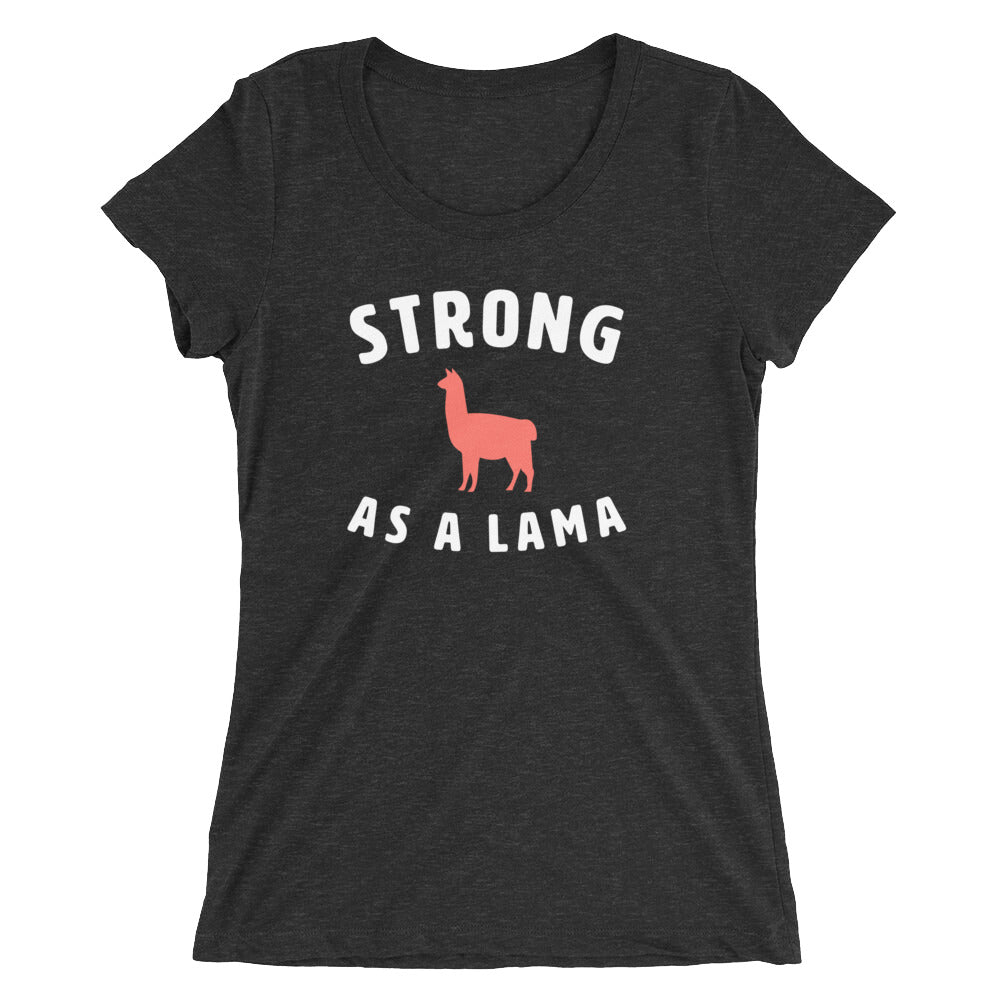 Strong as a Lama Women's T-Shirt Black-Dumb & Dumbbell