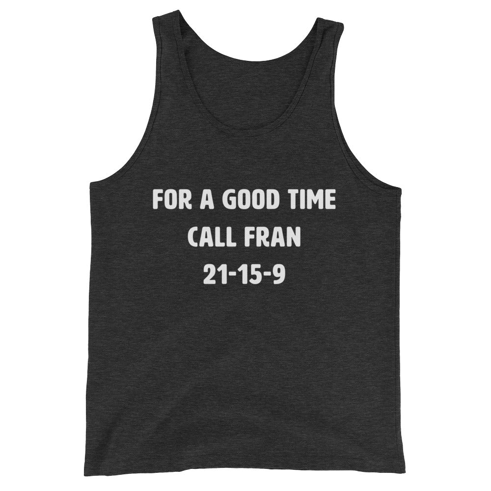 For a good time call Fran Women's Tank Top Charcoal-Dumb & Dumbbell