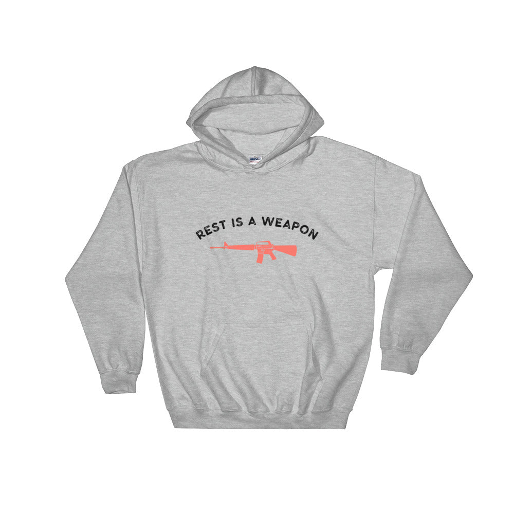 Rest is a Weapon Hoodie Grey-Dumb & Dumbbell