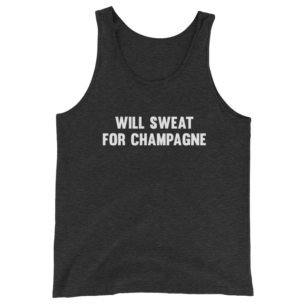 Will Sweat for Champagne Women's Tank Top Charcoal-Dumb & Dumbbell
