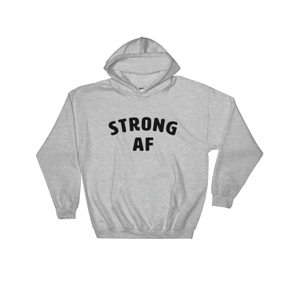 Strong AF Hoodie Grey-Dumb & Dumbbell