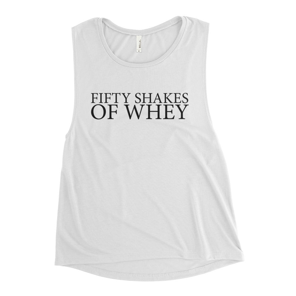 Fifty Shakes of Whey Women's Muscle Tank White-Dumb & Dumbbell