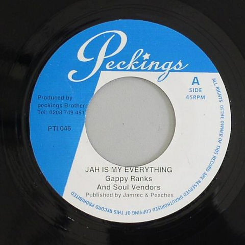 "Gappy Ranks - Jah Is My Everything / Jah Is My Everything (version) 7"" Vinyl"