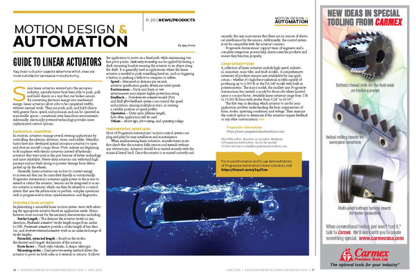 Сlipping from the Aerospace Manufacturing & Design Magazine about Progressive Automations
