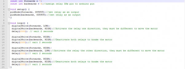The example for linear actuator Arduino code.