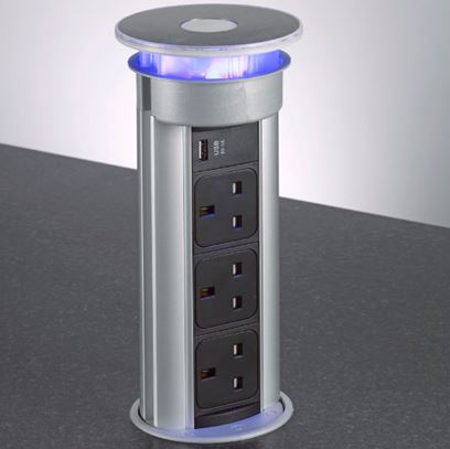 Photo of an automated retractable power outlet
