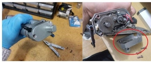Rotating motor mounting holes - after