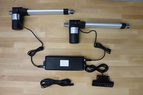 Photo of two linear actuators with control box