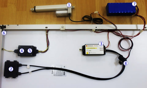 Photo of a mini linear actuator and control system components