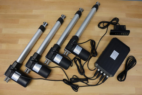 Photo of linear actuators with FLTCON -4 control box by Progressive Automations