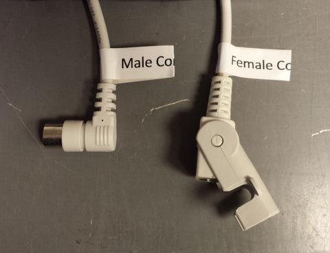 """Photo of wires with label """"Male Connector"""" while the other is """"Female Connector"""""""