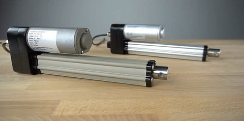 Photo of two PA-10 actuators with salt spray rating manufactured by Progressive Automations
