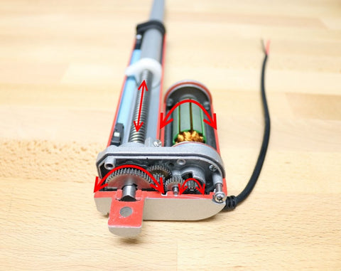 Photo of a linear actuator inside