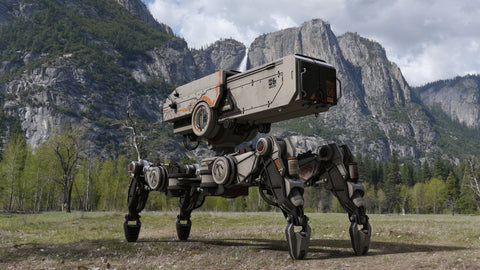 Photo of a military robot at a mountains