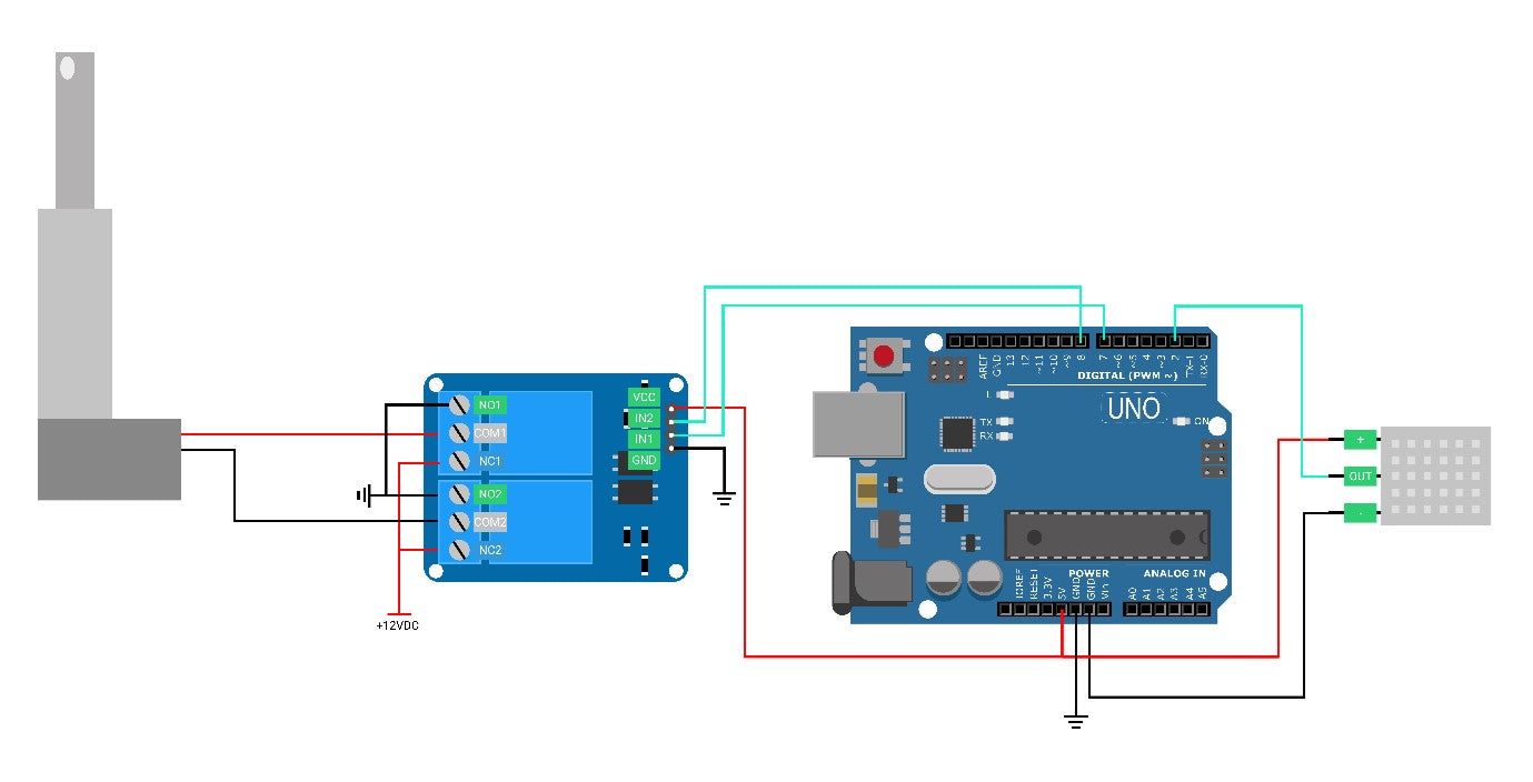 Actuator to relay and microcontroller wiring diagram