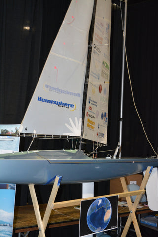Photo of the student project the UBC Sailboat, a model autonomous sailboat
