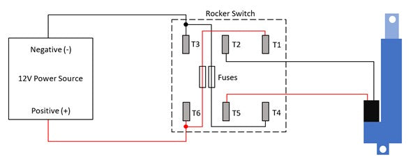 Wiring diagram of the linear actuator to the rocker switch for snow blower chute