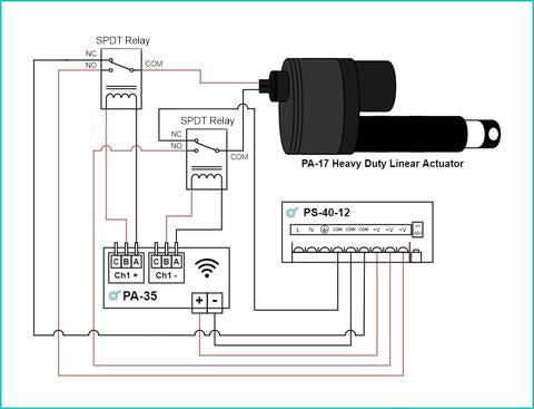 Wi-Fi controller and linear actuator wiring diagram