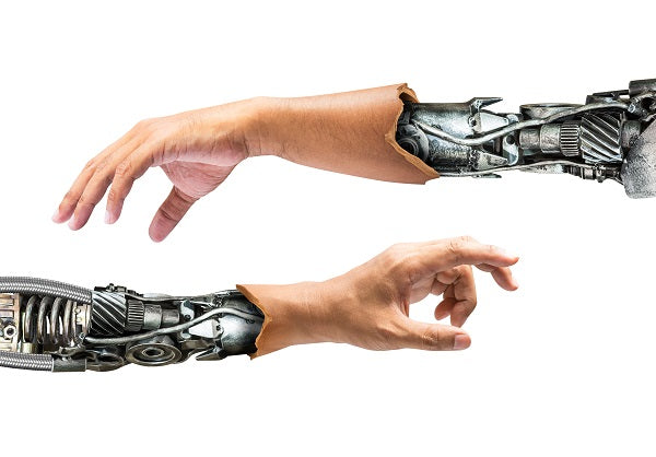 Photo of robot hands in an internal human hands
