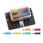 4 Way Blade Fuse Box Block Holder LED Warning Light ATC 12V/24V Car - Sunyee