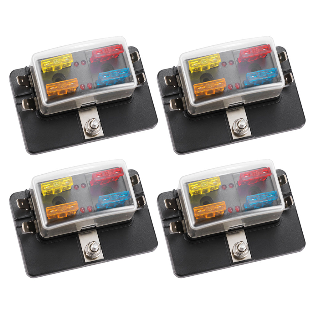 blade fuse box 4pcs 4 way blade fuse box block holder led warning light atc 12v  4pcs 4 way blade fuse box block holder