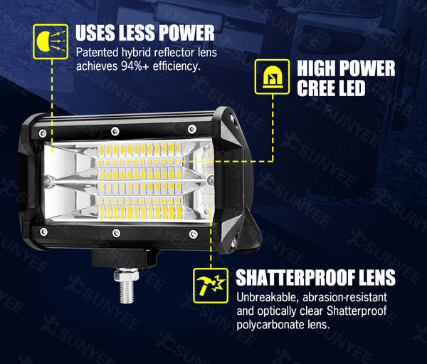 LIGHTFOX 5inch Led Light Bar 1 Lux @ 150M IP68 24000 Lumens Per Pair