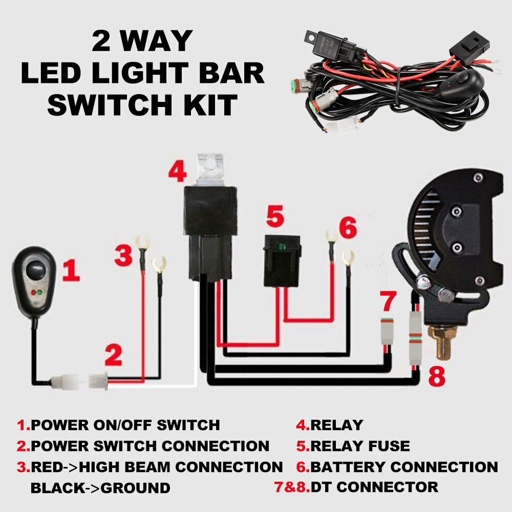2 Way High Beam Wiring Loom Harness 12V 40A Relay Switch Kit Driving - Sunyee
