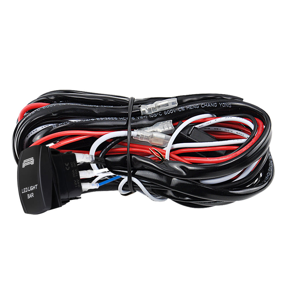 LED Wiring Loom Harness Kit One-To-Two Universal Driving light Bar on