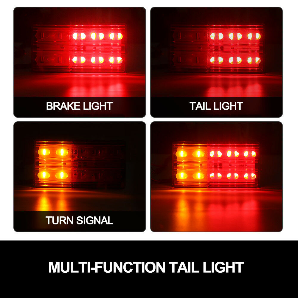 2x LED Trailer Tail Lights Stop Indicator Lamp 12V ADR Truck UTE - Sunyee