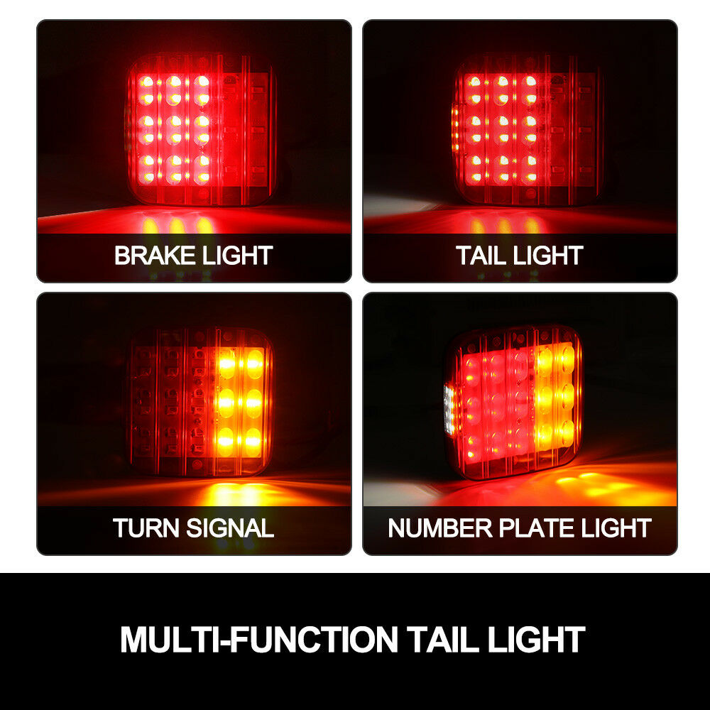 2x Square LED Trailer Tail Lights Stop Indicator Lamp Number Plate - Sunyee
