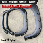 Kut Snake Flares for Mitsubishi Triton MR 2018-Current Full Set ABS - Sunyee