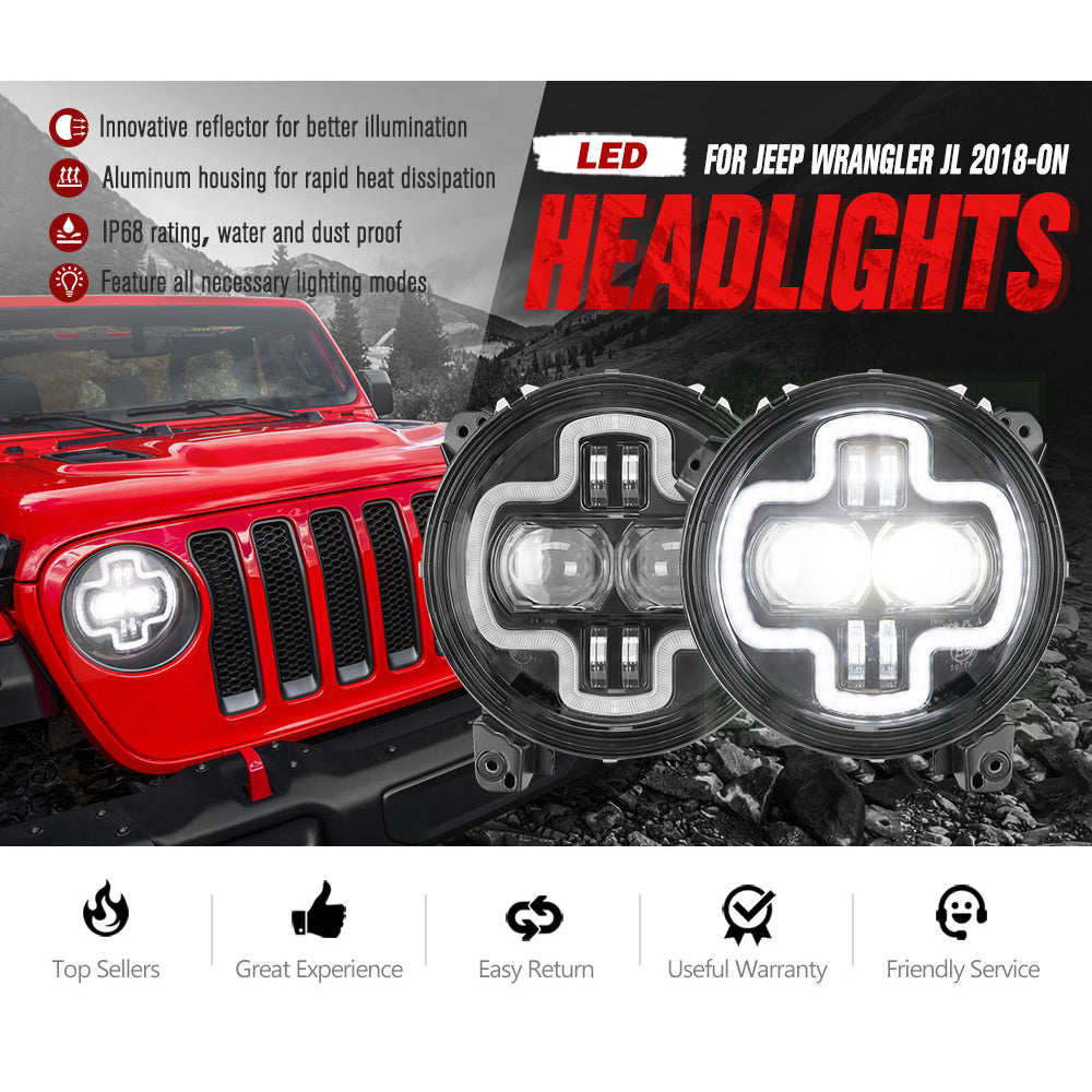 2x 9 inch LED Headlights Hi-Lo Beam Halo DRL for Jeep Wrangler JL - Sunyee