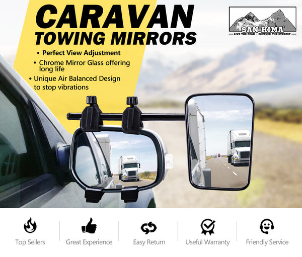Towing Mirrors Single Universal Multi Fit Strap On Towing Caravan 4X4 - Sunyee