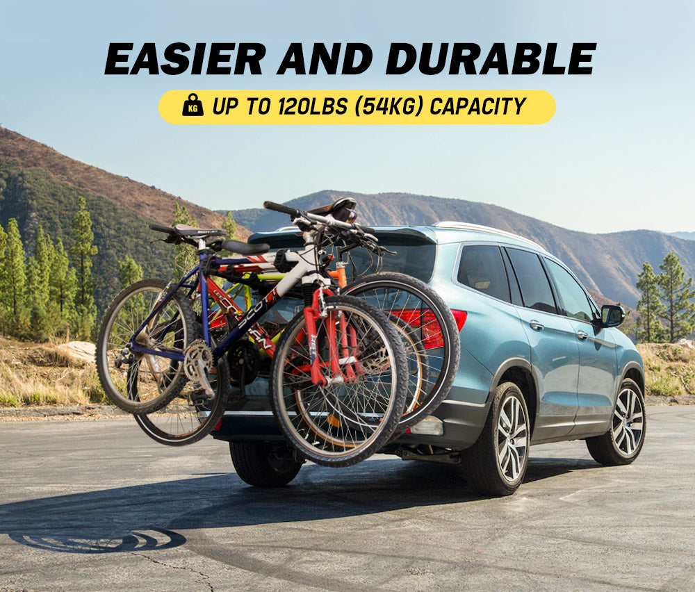 "3 Bicycle Bike Rear Rack Carrier 2"" Hitch Car Mount TowBar Foldable - Sunyee"