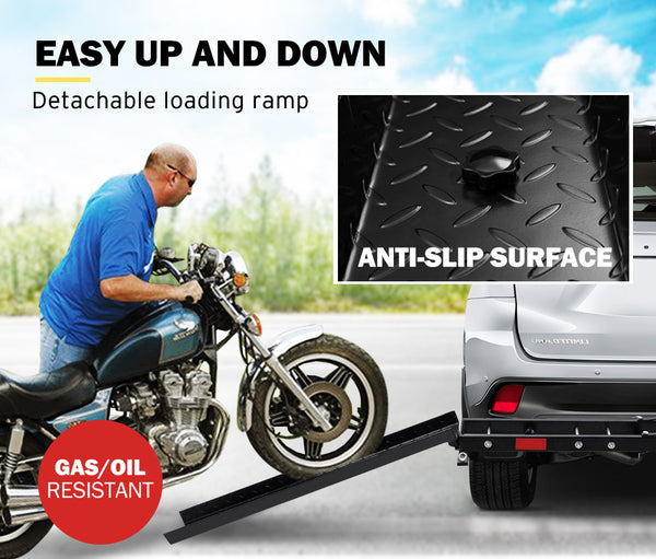 SAN HIMA 2 Arms Motorcycle Motorbike Carrier 2″ Towbar Hitch Rack Dirt - Sunyee