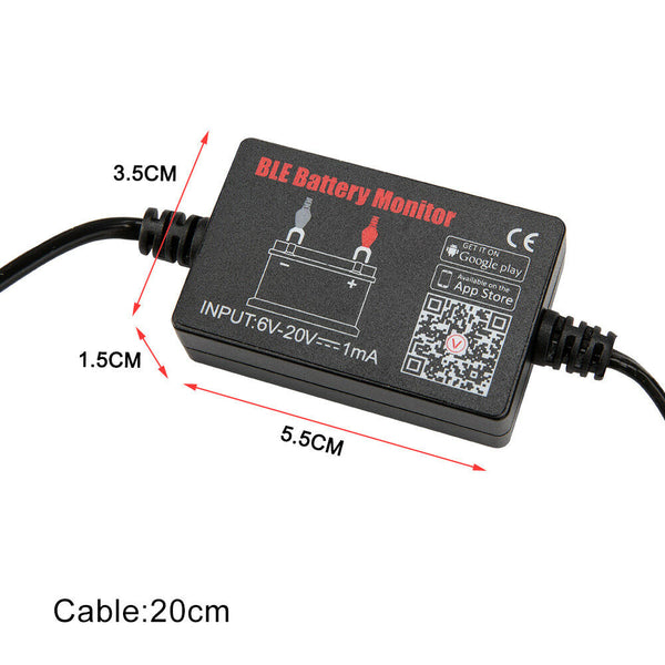 12V Vehicle Battery Monitor via bluetooth 4.0 Voltage Meter Tester w/ - Sunyee