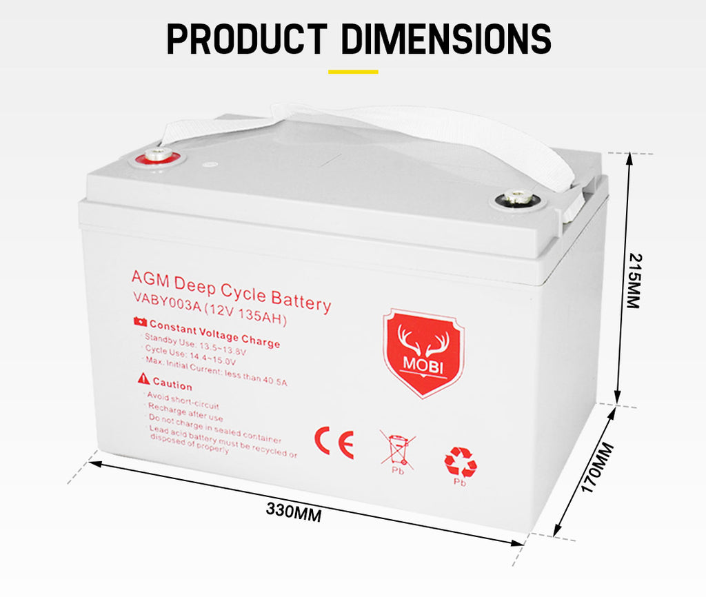 135AH AGM Battery 12V AMP Hour SLA Deep Cycle Dual Fridge with Battery - Sunyee