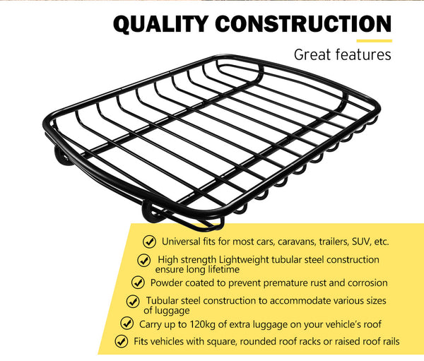 SAN HIMA Universal Steel Roof Rack Basket Car Luggage Carrier Steel - Sunyee