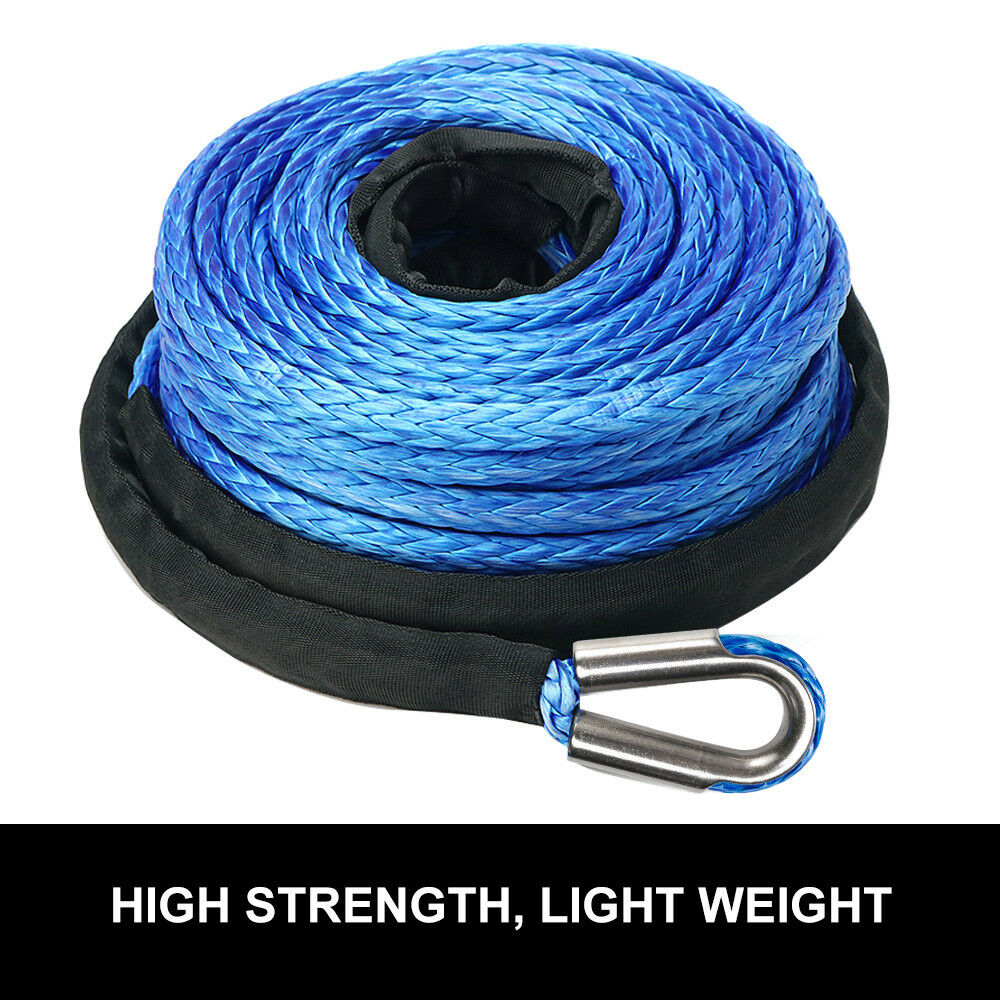 Winch Rope 10MM x 30M Dyneema SK75 Hook Synthetic Car Tow Recovery - Sunyee
