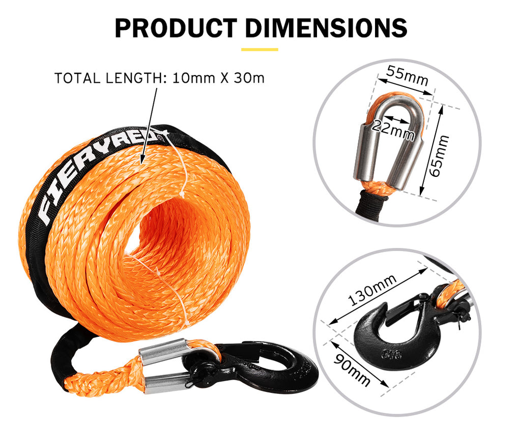 Synthetic Winch Rope 10MM x 30M Dyneema SK75 Tow Recovery Rope Orange - Sunyee