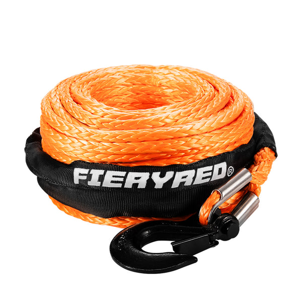 10MM x 30M Synthetic Winch Rope Dyneema SK75 Tow Recovery Rope Orange - Sunyee