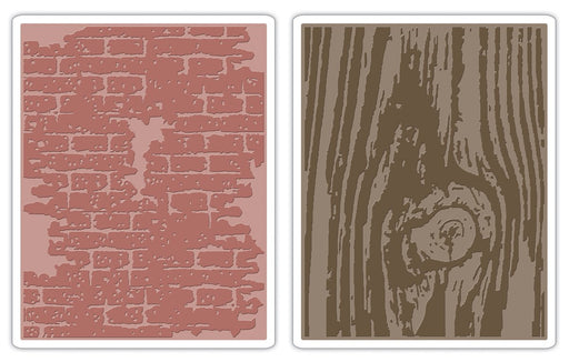 Sizzix Texture Fades Embossing Folders - Bricked & Woodgrain Set